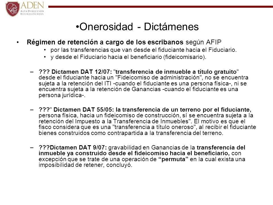 Régimen de retención a cargo de los escribanos según AFIP por las transferencias que van desde el fiduciante hacia el Fiduciario. y desde el Fiduciari