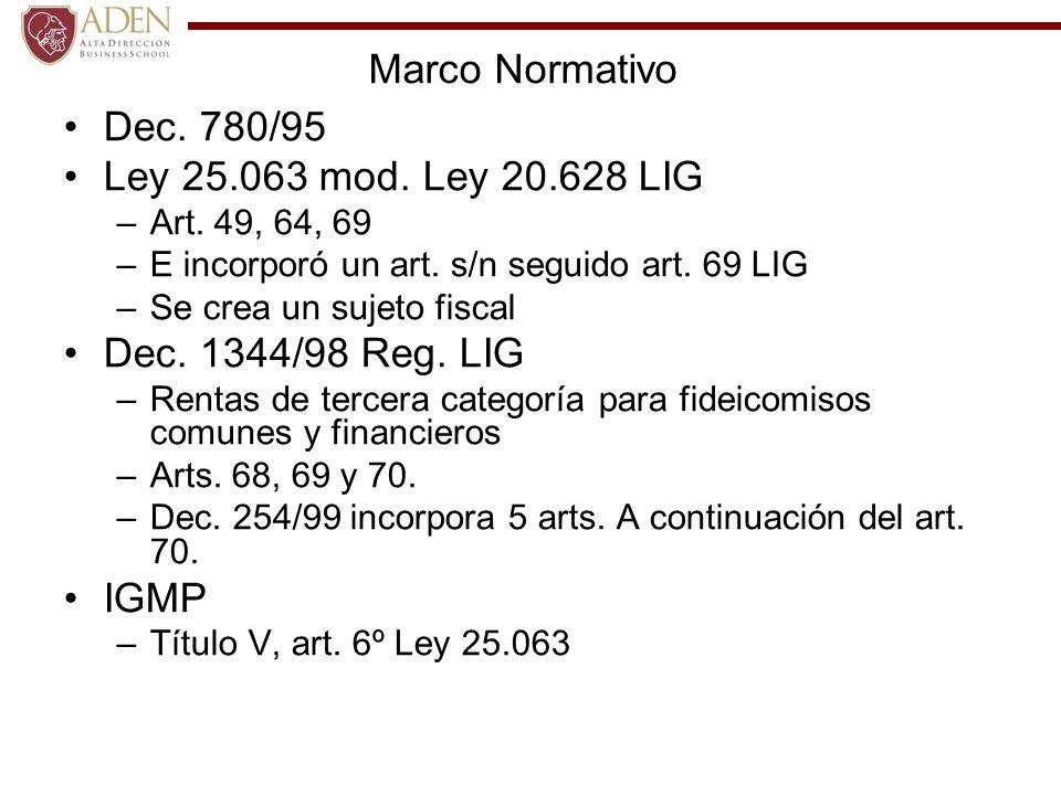 Marco Normativo Dec. 780/95 Ley 25.063 mod. Ley 20.628 LIG –Art. 49, 64, 69 –E incorporó un art. s/n seguido art. 69 LIG –Se crea un sujeto fiscal Dec
