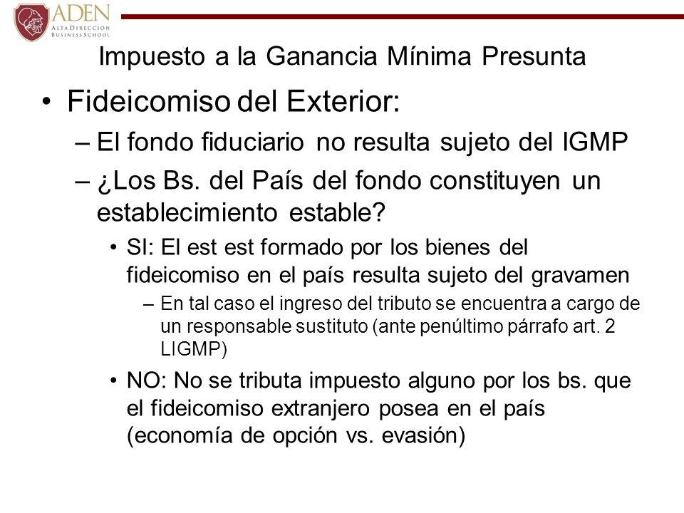 Impuesto a la Ganancia Mínima Presunta Fideicomiso del Exterior: –El fondo fiduciario no resulta sujeto del IGMP –¿Los Bs. del País del fondo constitu