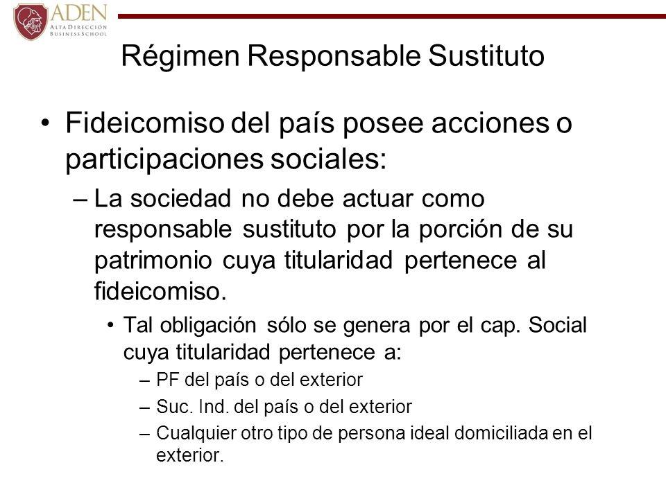 Régimen Responsable Sustituto Fideicomiso del país posee acciones o participaciones sociales: –La sociedad no debe actuar como responsable sustituto p