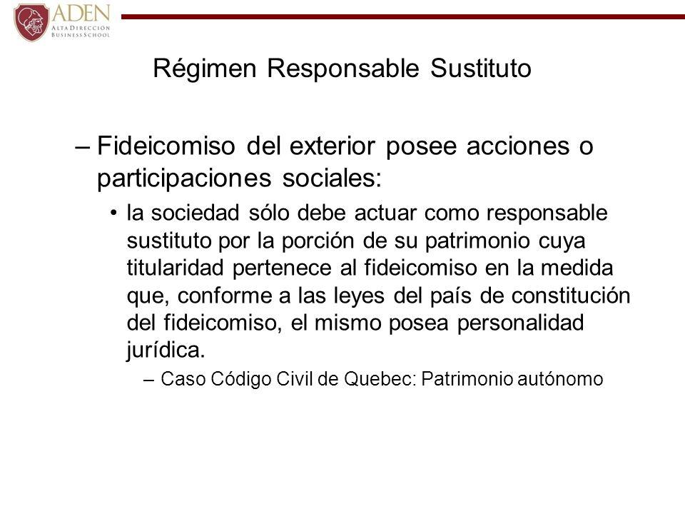 Régimen Responsable Sustituto –Fideicomiso del exterior posee acciones o participaciones sociales: la sociedad sólo debe actuar como responsable susti