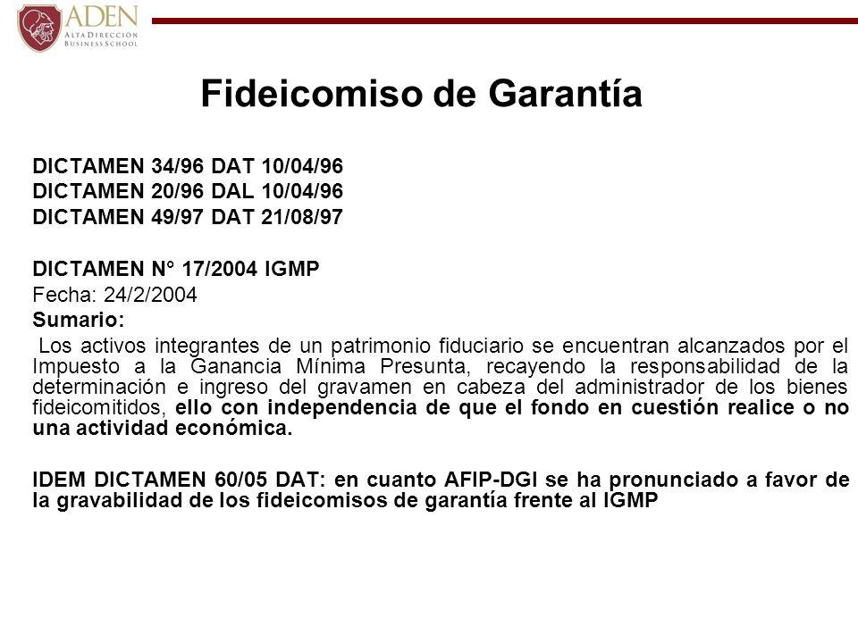 Fideicomiso de Garantía DICTAMEN 34/96 DAT 10/04/96 DICTAMEN 20/96 DAL 10/04/96 DICTAMEN 49/97 DAT 21/08/97 DICTAMEN N° 17/2004 IGMP Fecha: 24/2/2004