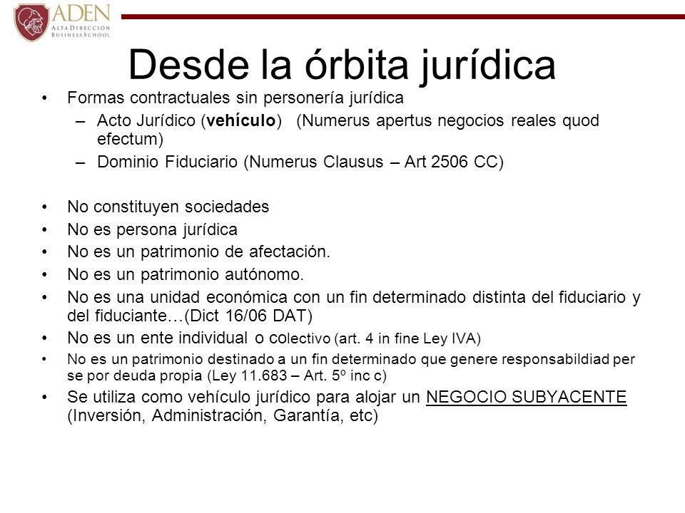 Desde la órbita jurídica Formas contractuales sin personería jurídica –Acto Jurídico (vehículo) (Numerus apertus negocios reales quod efectum) –Domini