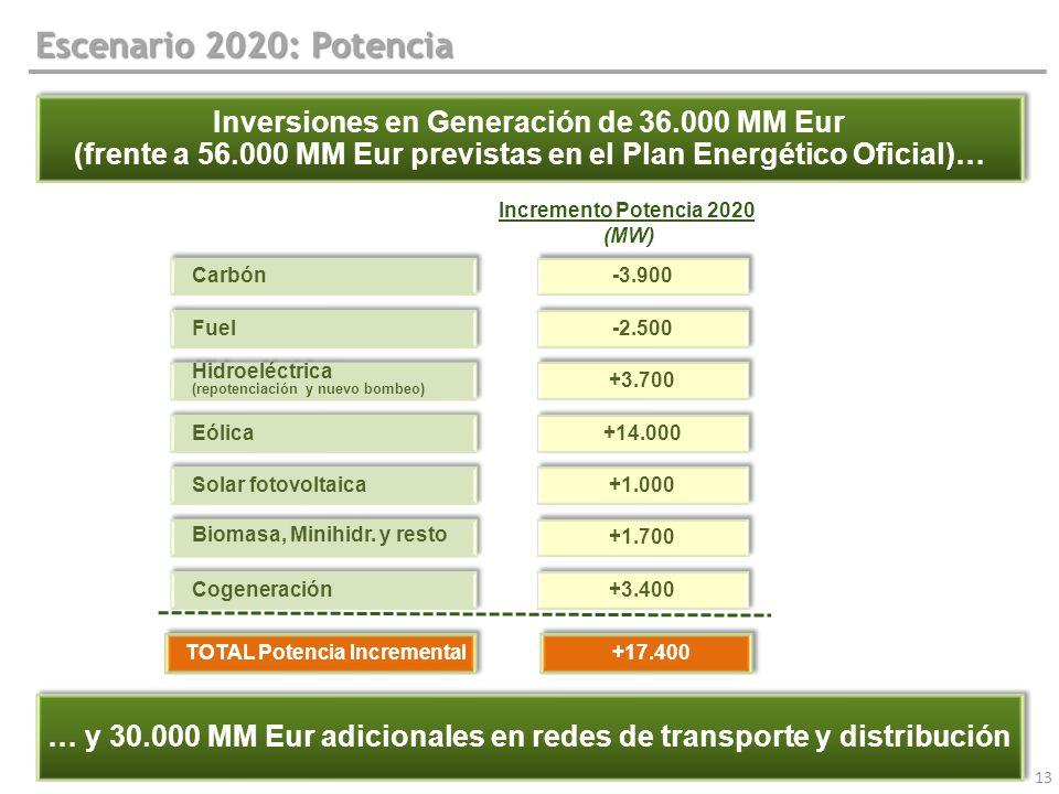 13 Escenario 2020: Potencia Inversiones en Generación de 36.000 MM Eur (frente a 56.000 MM Eur previstas en el Plan Energético Oficial)… Inversiones e