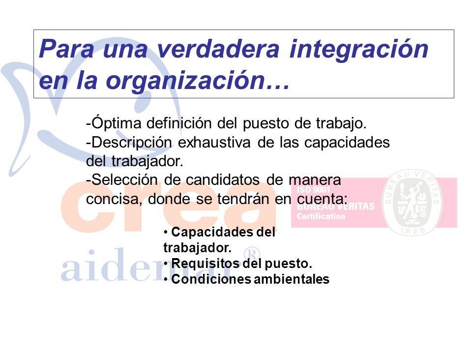 Para una verdadera integración en la organización… -Óptima definición del puesto de trabajo. -Descripción exhaustiva de las capacidades del trabajador