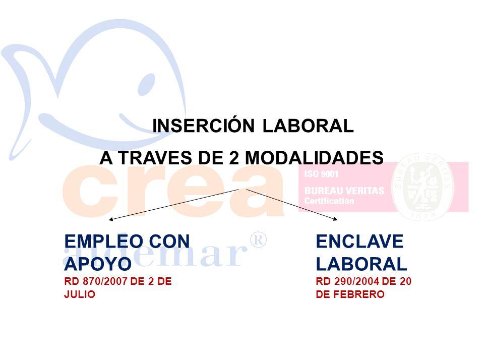 INSERCIÓN LABORAL A TRAVES DE 2 MODALIDADES EMPLEO CON APOYO RD 870/2007 DE 2 DE JULIO ENCLAVE LABORAL RD 290/2004 DE 20 DE FEBRERO