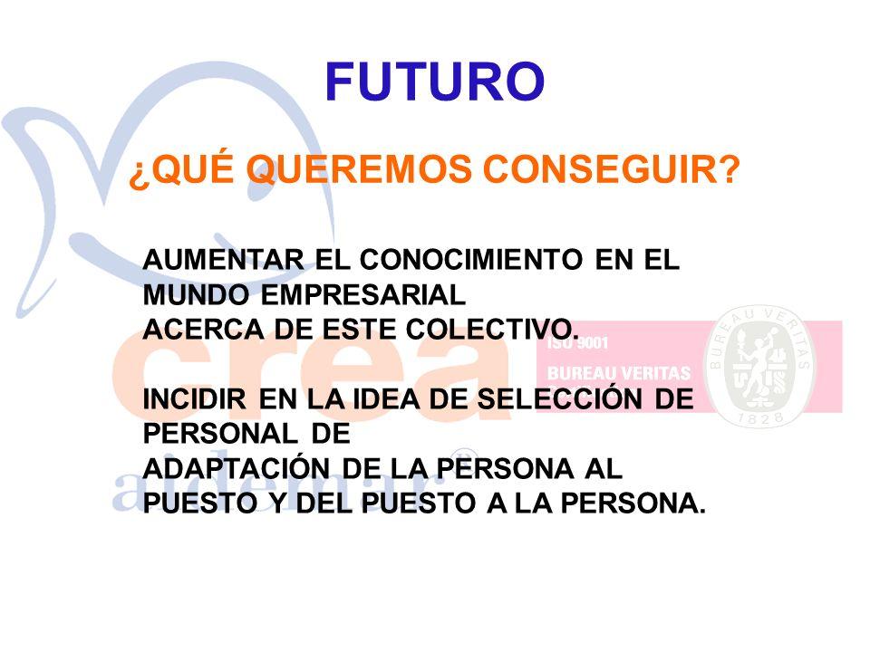 FUTURO ¿QUÉ QUEREMOS CONSEGUIR? AUMENTAR EL CONOCIMIENTO EN EL MUNDO EMPRESARIAL ACERCA DE ESTE COLECTIVO. INCIDIR EN LA IDEA DE SELECCIÓN DE PERSONAL