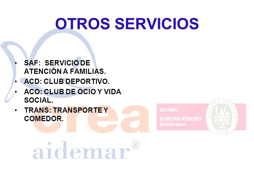 OTROS SERVICIOS SAF: SERVICIO DE ATENCIÓN A FAMILIAS. ACD: CLUB DEPORTIVO. ACO: CLUB DE OCIO Y VIDA SOCIAL. TRANS: TRANSPORTE Y COMEDOR.