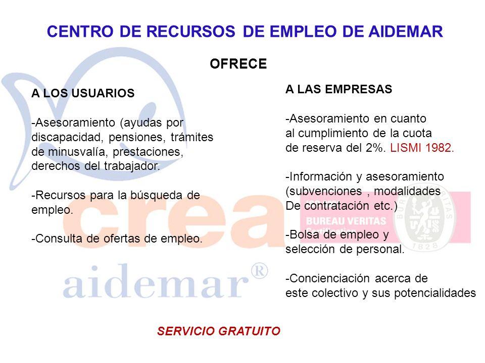 CENTRO DE RECURSOS DE EMPLEO DE AIDEMAR OFRECE A LAS EMPRESAS -Asesoramiento en cuanto al cumplimiento de la cuota de reserva del 2%. LISMI 1982. -Inf