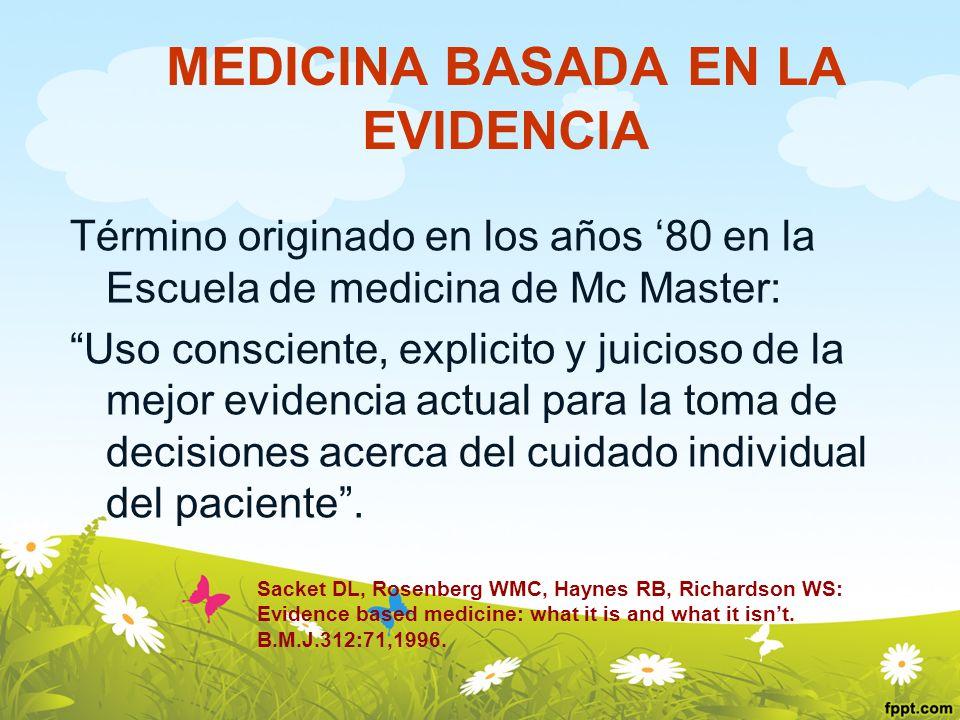 MEDICINA BASADA EN LA EVIDENCIA Término originado en los años 80 en la Escuela de medicina de Mc Master: Uso consciente, explicito y juicioso de la me