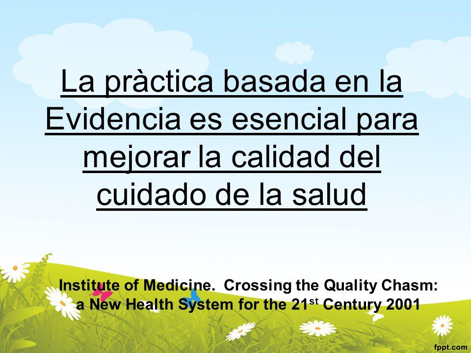 La pràctica basada en la Evidencia es esencial para mejorar la calidad del cuidado de la salud Institute of Medicine. Crossing the Quality Chasm: a Ne