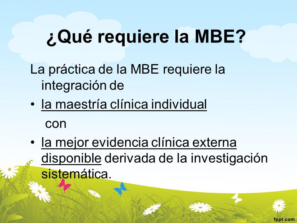 ¿Qué requiere la MBE? La práctica de la MBE requiere la integración de la maestría clínica individual con la mejor evidencia clínica externa disponibl