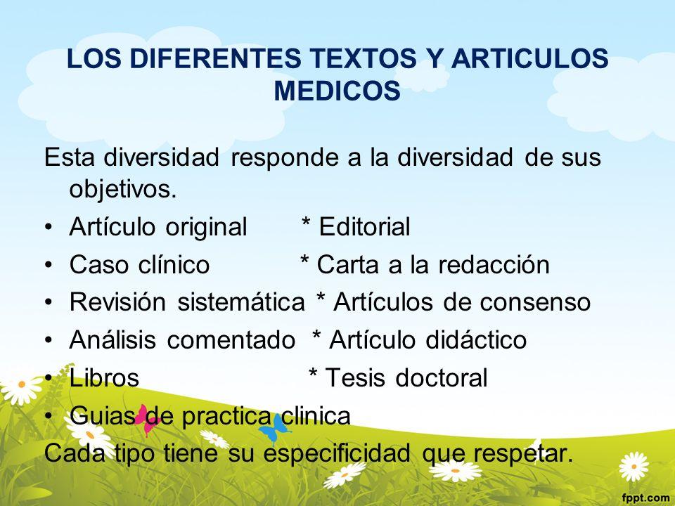 LOS DIFERENTES TEXTOS Y ARTICULOS MEDICOS Esta diversidad responde a la diversidad de sus objetivos. Artículo original * Editorial Caso clínico * Cart