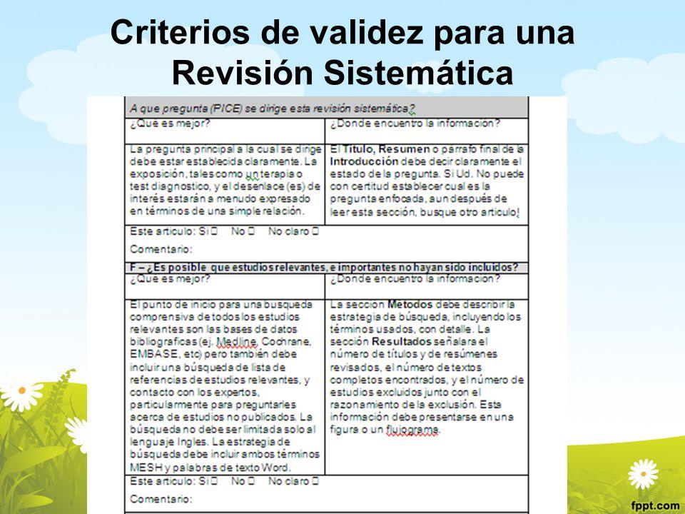 Criterios de validez para una Revisión Sistemática
