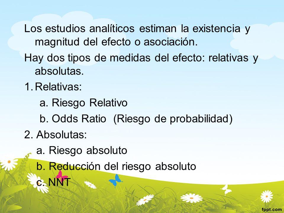 Los estudios analíticos estiman la existencia y magnitud del efecto o asociación. Hay dos tipos de medidas del efecto: relativas y absolutas. 1.Relati