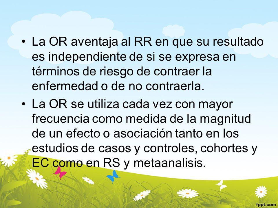 La OR aventaja al RR en que su resultado es independiente de si se expresa en términos de riesgo de contraer la enfermedad o de no contraerla. La OR s
