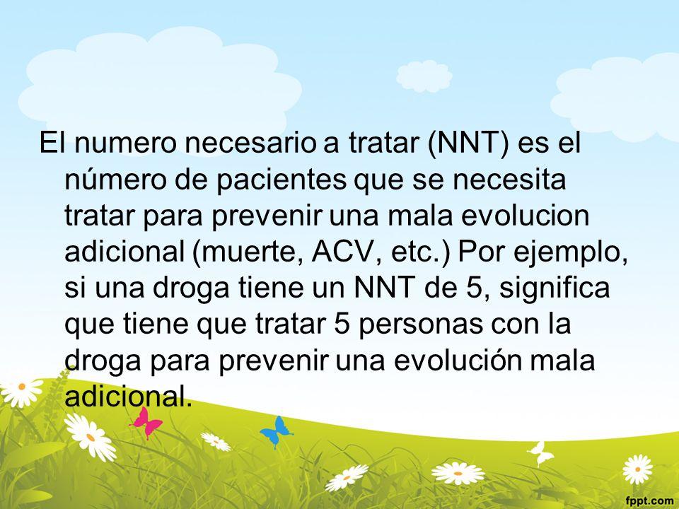 El numero necesario a tratar (NNT) es el número de pacientes que se necesita tratar para prevenir una mala evolucion adicional (muerte, ACV, etc.) Por