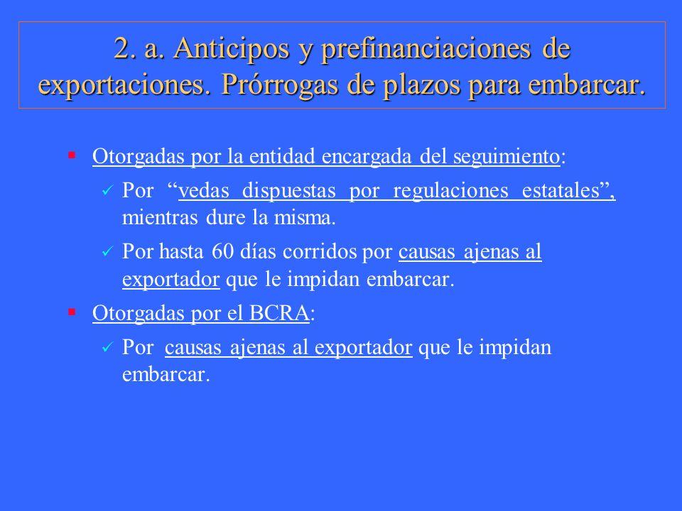 2. a. Anticipos y prefinanciaciones de exportaciones. Prórrogas de plazos para embarcar. Otorgadas por la entidad encargada del seguimiento: Por vedas