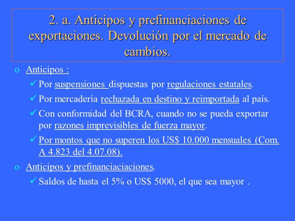 2. a. Anticipos y prefinanciaciones de exportaciones. Devolución por el mercado de cambios. oAnticipos : Por suspensiones dispuestas por regulaciones