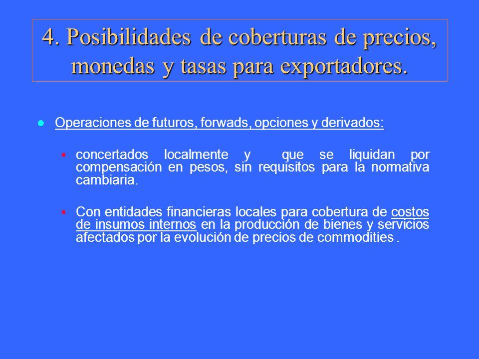 Operaciones de futuros, forwads, opciones y derivados: concertados localmente y que se liquidan por compensación en pesos, sin requisitos para la norm