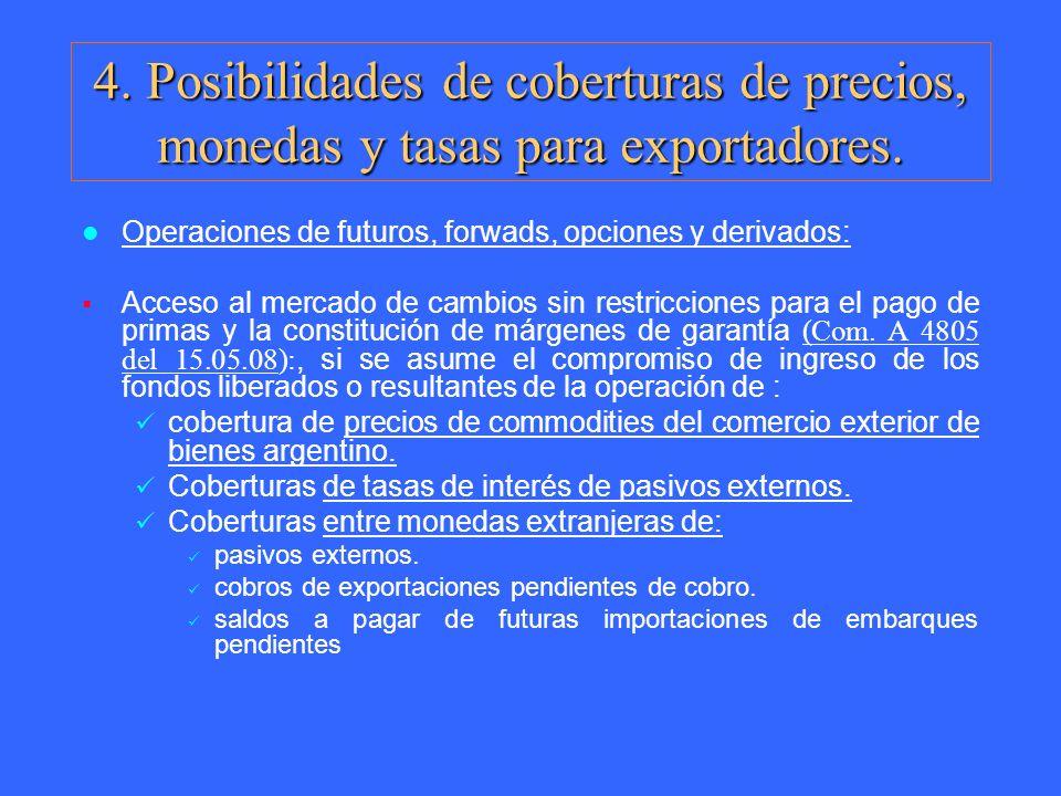 Operaciones de futuros, forwads, opciones y derivados: Acceso al mercado de cambios sin restricciones para el pago de primas y la constitución de márg