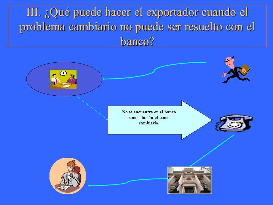 III. ¿Qué puede hacer el exportador cuando el problema cambiario no puede ser resuelto con el banco? No se encuentra en el banco una solución al tema