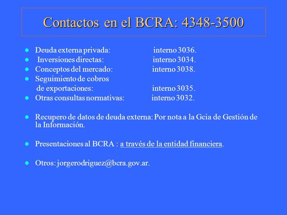 Contactos en el BCRA: 4348-3500 Deuda externa privada: interno 3036. Inversiones directas: interno 3034. Conceptos del mercado: interno 3038. Seguimie