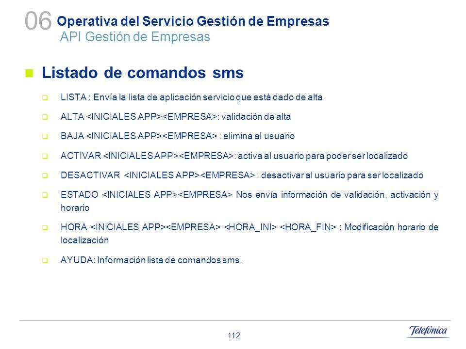 112 Operativa del Servicio Gestión de Empresas API Gestión de Empresas Listado de comandos sms LISTA : Envía la lista de aplicación servicio que está