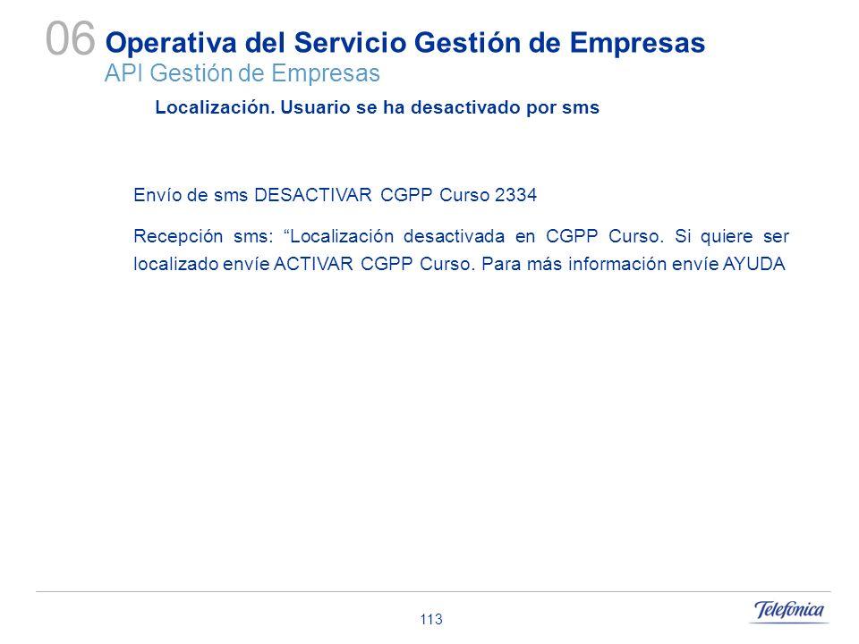 113 Operativa del Servicio Gestión de Empresas API Gestión de Empresas 06 Localización. Usuario se ha desactivado por sms Envío de sms DESACTIVAR CGPP