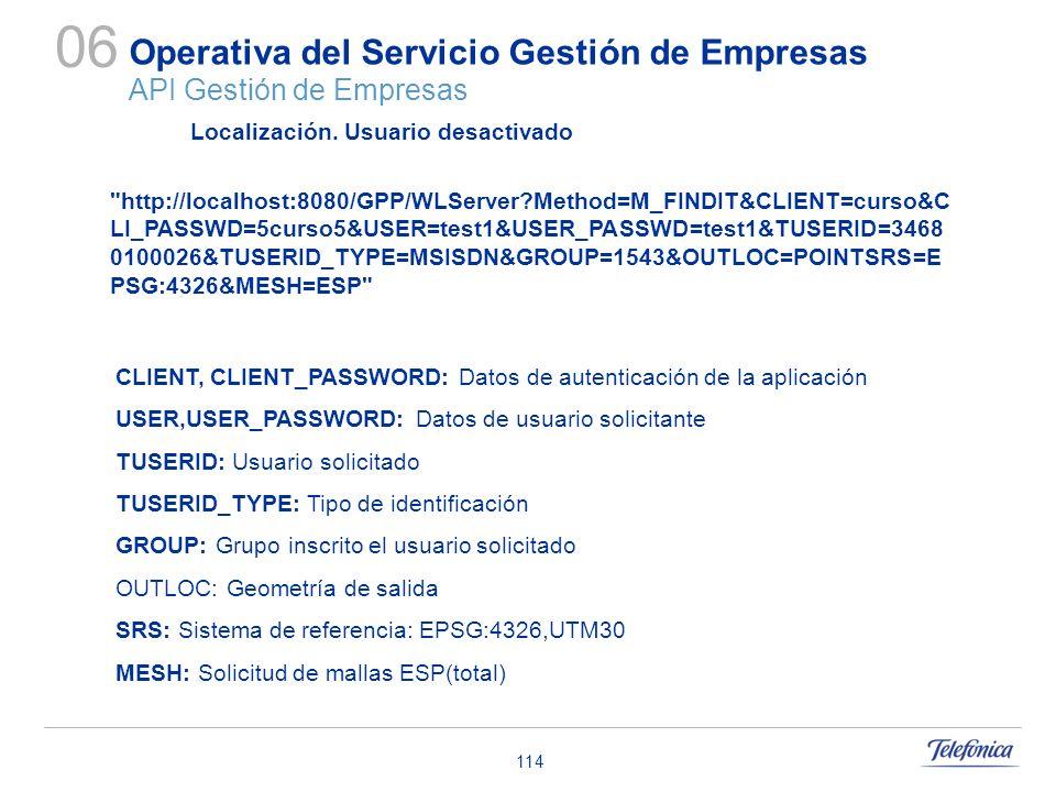 114 Operativa del Servicio Gestión de Empresas API Gestión de Empresas 06 Localización. Usuario desactivado CLIENT, CLIENT_PASSWORD: Datos de autentic