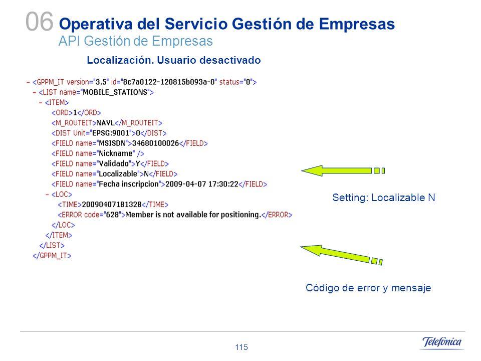 115 Operativa del Servicio Gestión de Empresas API Gestión de Empresas 06 Código de error y mensaje Localización. Usuario desactivado Setting: Localiz