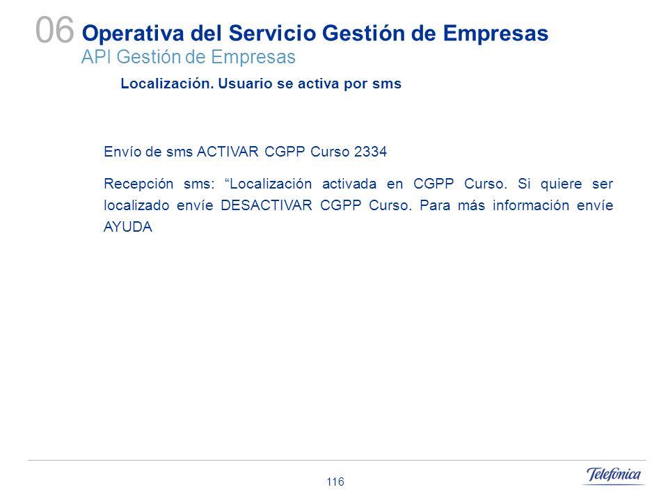 116 Operativa del Servicio Gestión de Empresas API Gestión de Empresas 06 Localización. Usuario se activa por sms Envío de sms ACTIVAR CGPP Curso 2334