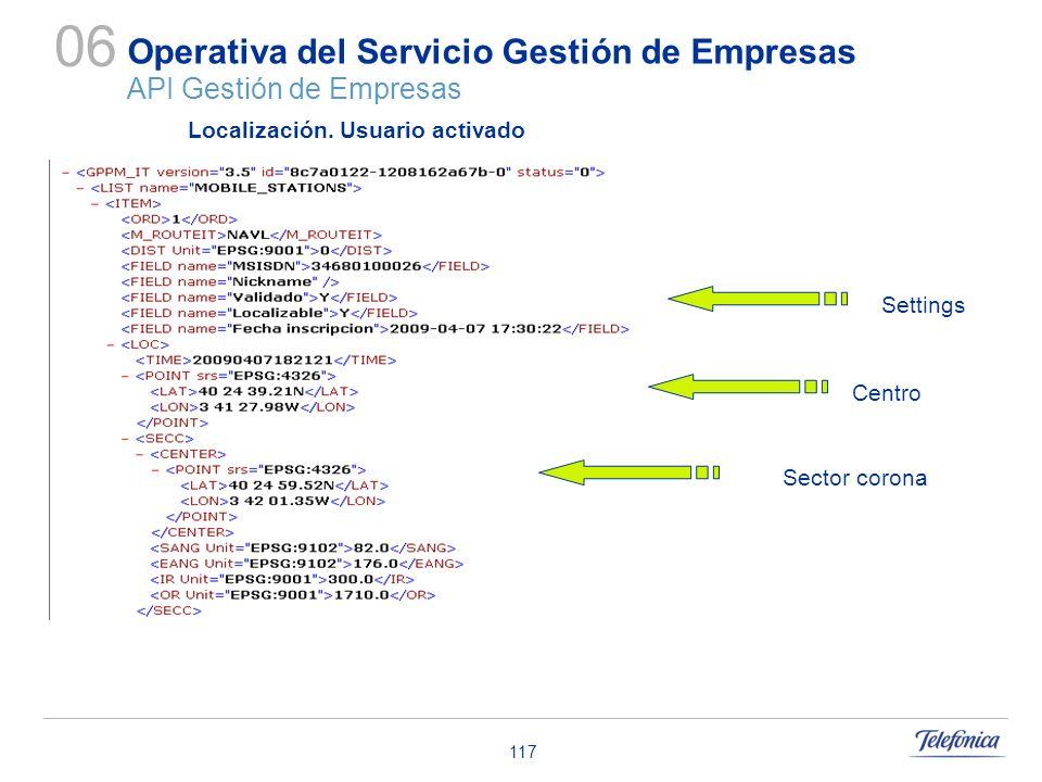 117 Operativa del Servicio Gestión de Empresas API Gestión de Empresas 06 Centro Localización. Usuario activado Settings Sector corona