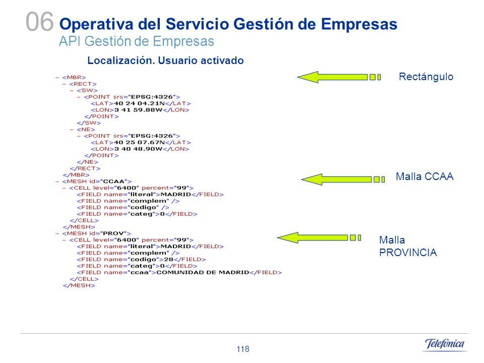 118 Operativa del Servicio Gestión de Empresas API Gestión de Empresas 06 Malla CCAA Localización. Usuario activado Rectángulo Malla PROVINCIA