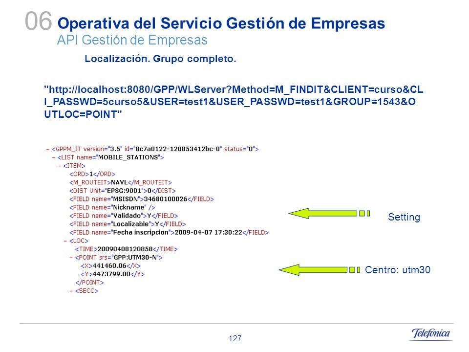 127 Operativa del Servicio Gestión de Empresas API Gestión de Empresas 06 Localización. Grupo completo. Setting Centro: utm30
