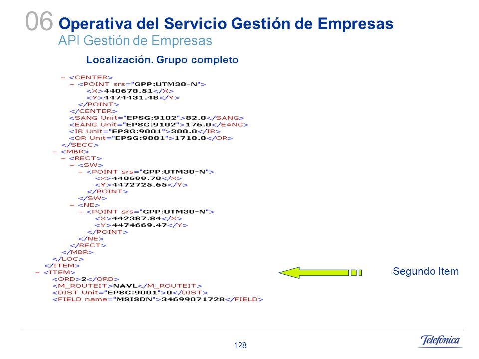 128 Operativa del Servicio Gestión de Empresas API Gestión de Empresas 06 Localización. Grupo completo Segundo Item
