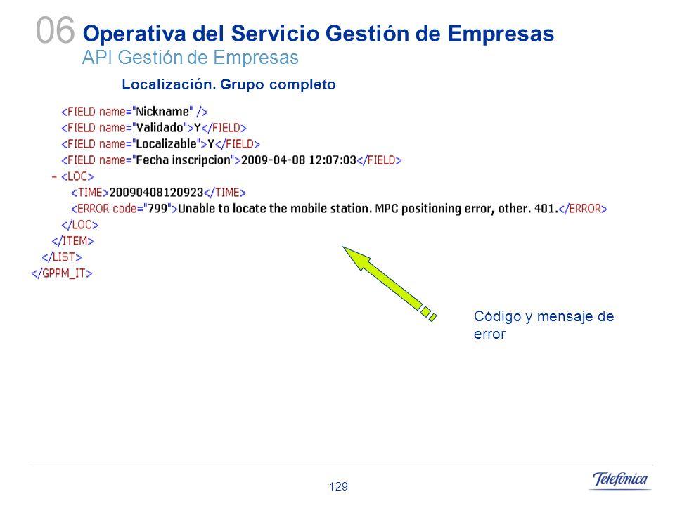 129 Operativa del Servicio Gestión de Empresas API Gestión de Empresas 06 Localización. Grupo completo Código y mensaje de error