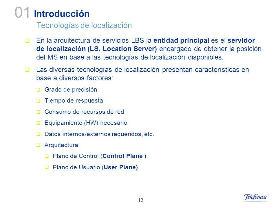 13 Introducción Tecnologías de localización 01 En la arquitectura de servicios LBS la entidad principal es el servidor de localización (LS, Location S