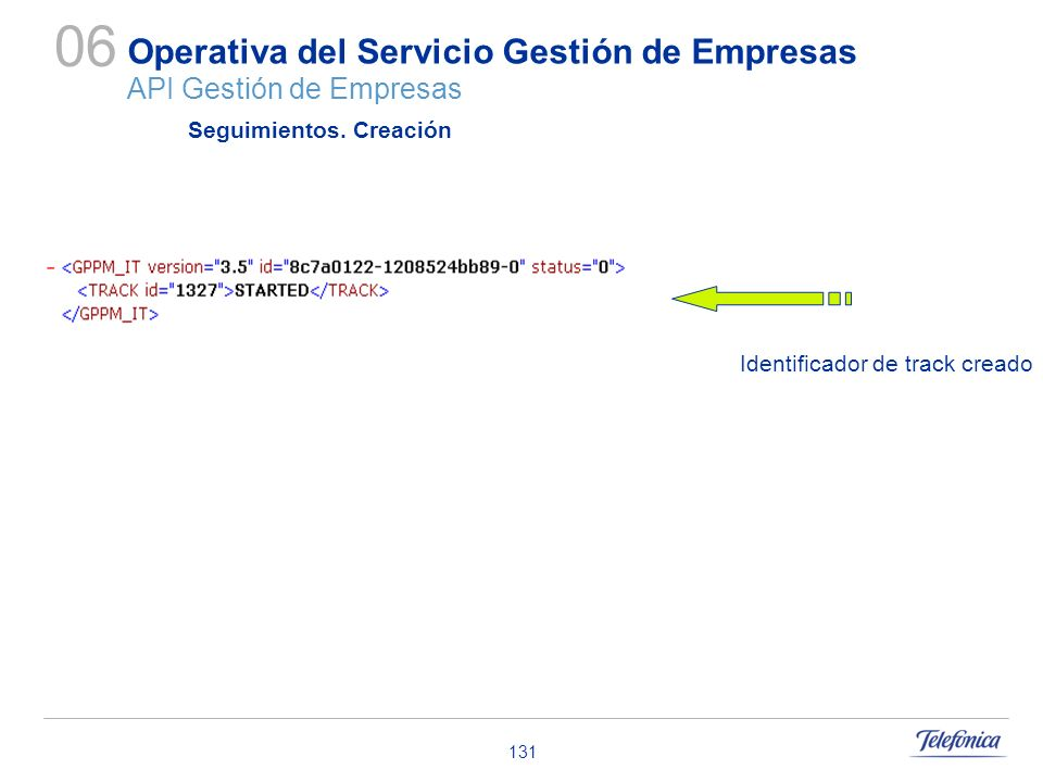 131 Operativa del Servicio Gestión de Empresas API Gestión de Empresas 06 Seguimientos. Creación Identificador de track creado