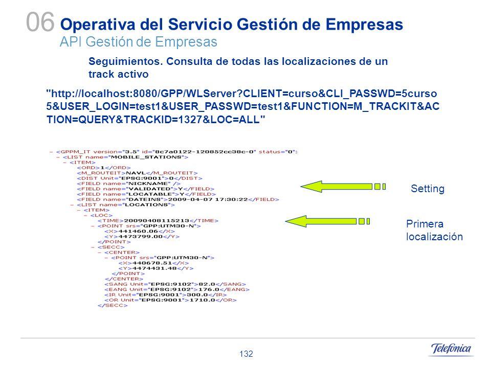 132 Operativa del Servicio Gestión de Empresas API Gestión de Empresas 06 Seguimientos. Consulta de todas las localizaciones de un track activo
