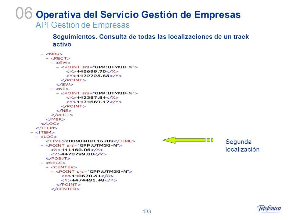 133 Operativa del Servicio Gestión de Empresas API Gestión de Empresas 06 Seguimientos. Consulta de todas las localizaciones de un track activo Segund