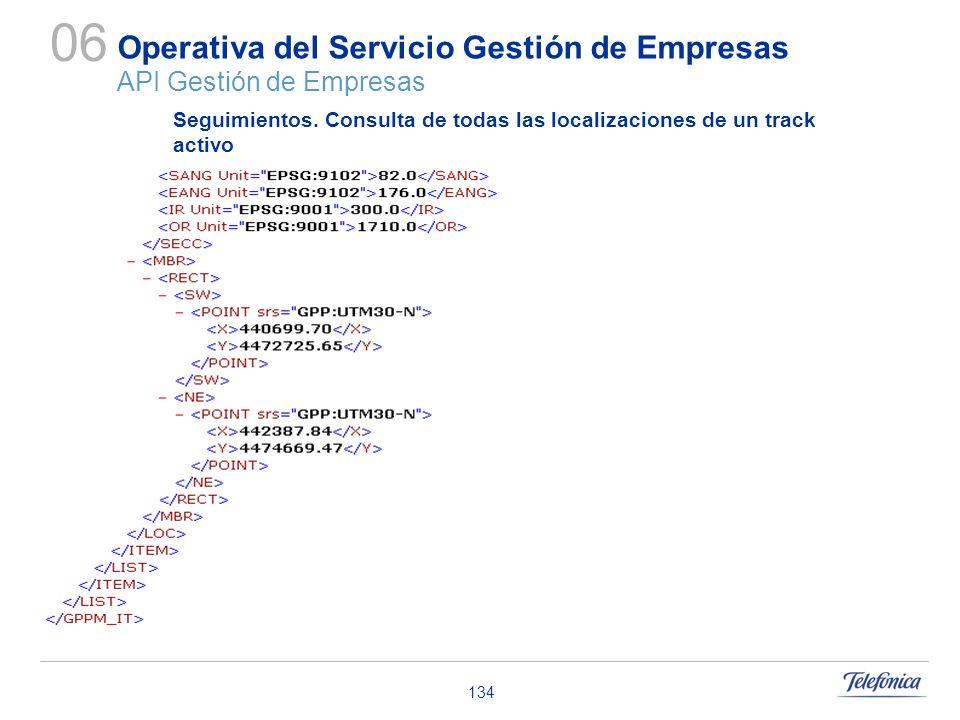 134 Operativa del Servicio Gestión de Empresas API Gestión de Empresas 06 Seguimientos. Consulta de todas las localizaciones de un track activo
