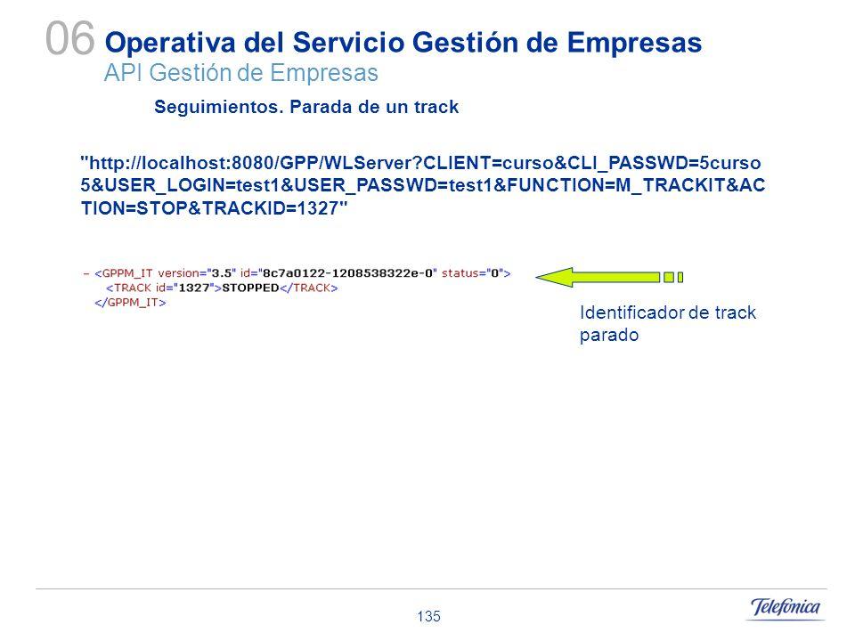135 Operativa del Servicio Gestión de Empresas API Gestión de Empresas 06 Seguimientos. Parada de un track