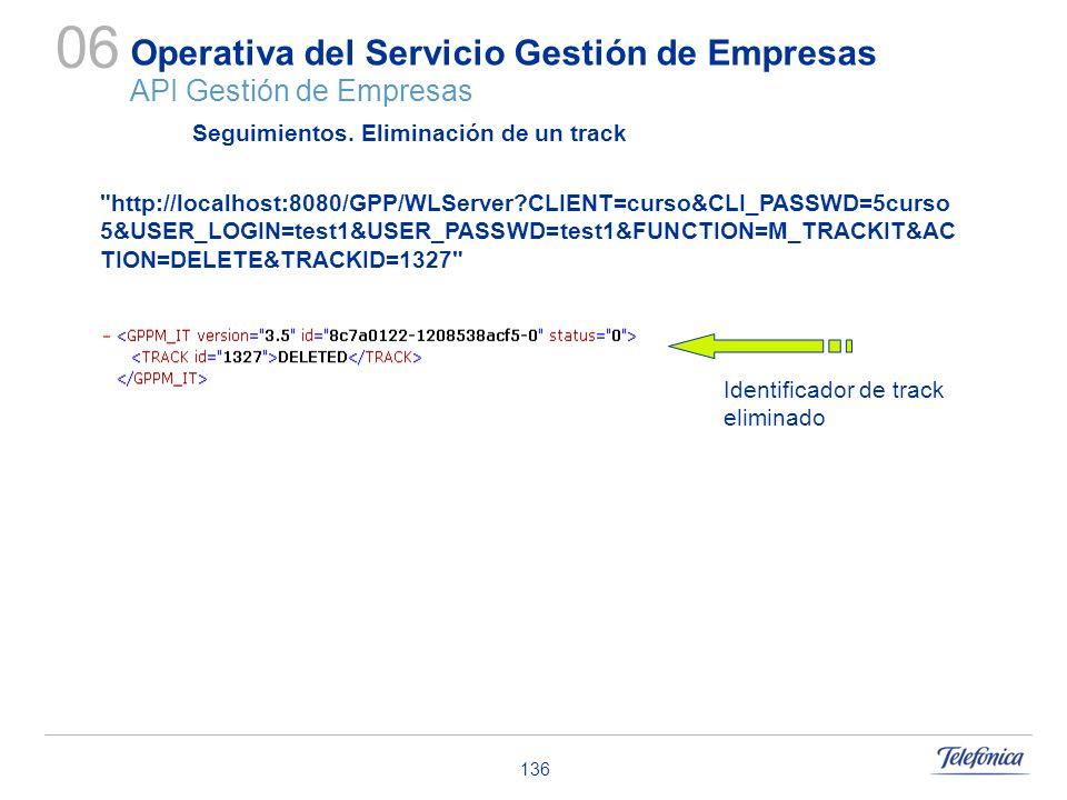136 Operativa del Servicio Gestión de Empresas API Gestión de Empresas 06 Seguimientos. Eliminación de un track