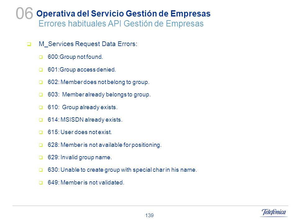 139 Operativa del Servicio Gestión de Empresas Errores habituales API Gestión de Empresas M_Services Request Data Errors: 600:Group not found. 601:Gro