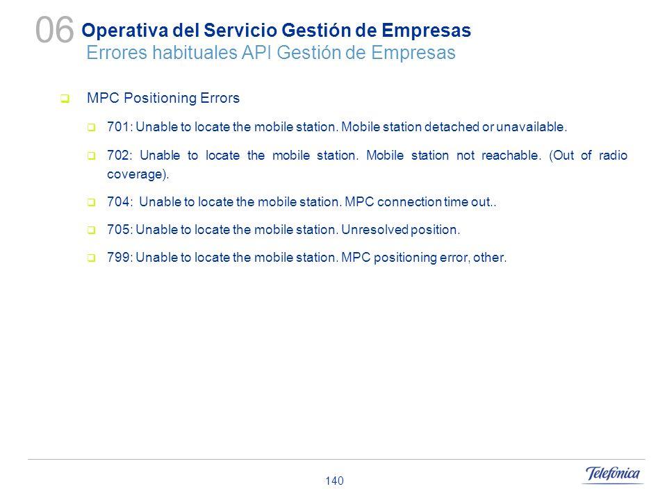 140 Operativa del Servicio Gestión de Empresas Errores habituales API Gestión de Empresas MPC Positioning Errors 701: Unable to locate the mobile stat