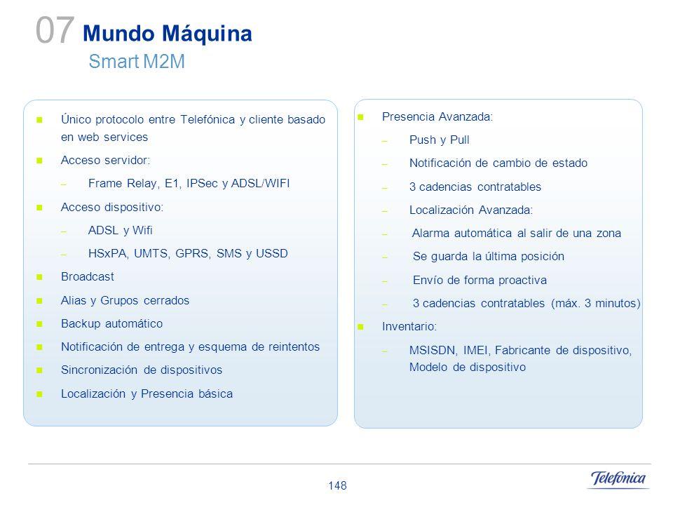 148 Único protocolo entre Telefónica y cliente basado en web services Acceso servidor: – Frame Relay, E1, IPSec y ADSL/WIFI Acceso dispositivo: – ADSL