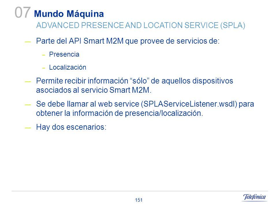 151 Parte del API Smart M2M que provee de servicios de: – Presencia – Localización Permite recibir información sólo de aquellos dispositivos asociados