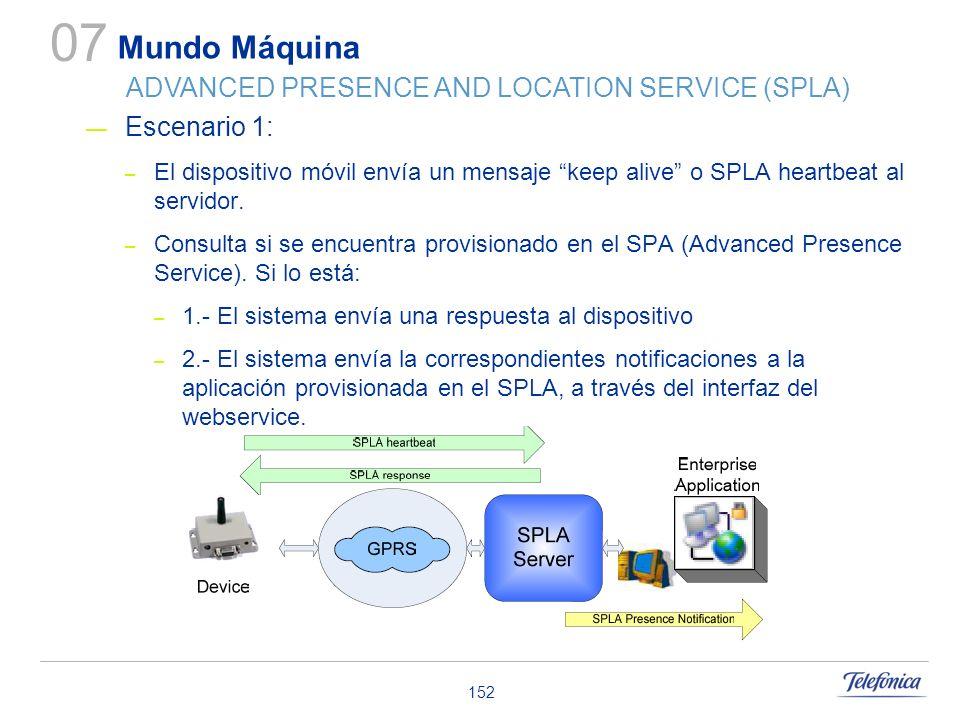 152 Escenario 1: – El dispositivo móvil envía un mensaje keep alive o SPLA heartbeat al servidor. – Consulta si se encuentra provisionado en el SPA (A