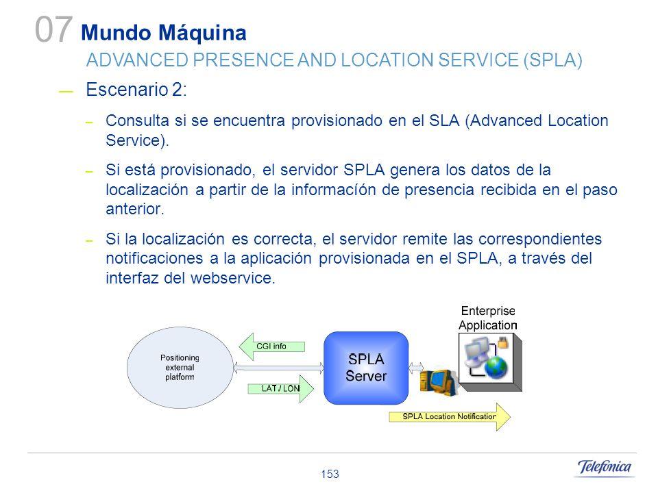153 Escenario 2: – Consulta si se encuentra provisionado en el SLA (Advanced Location Service). – Si está provisionado, el servidor SPLA genera los da
